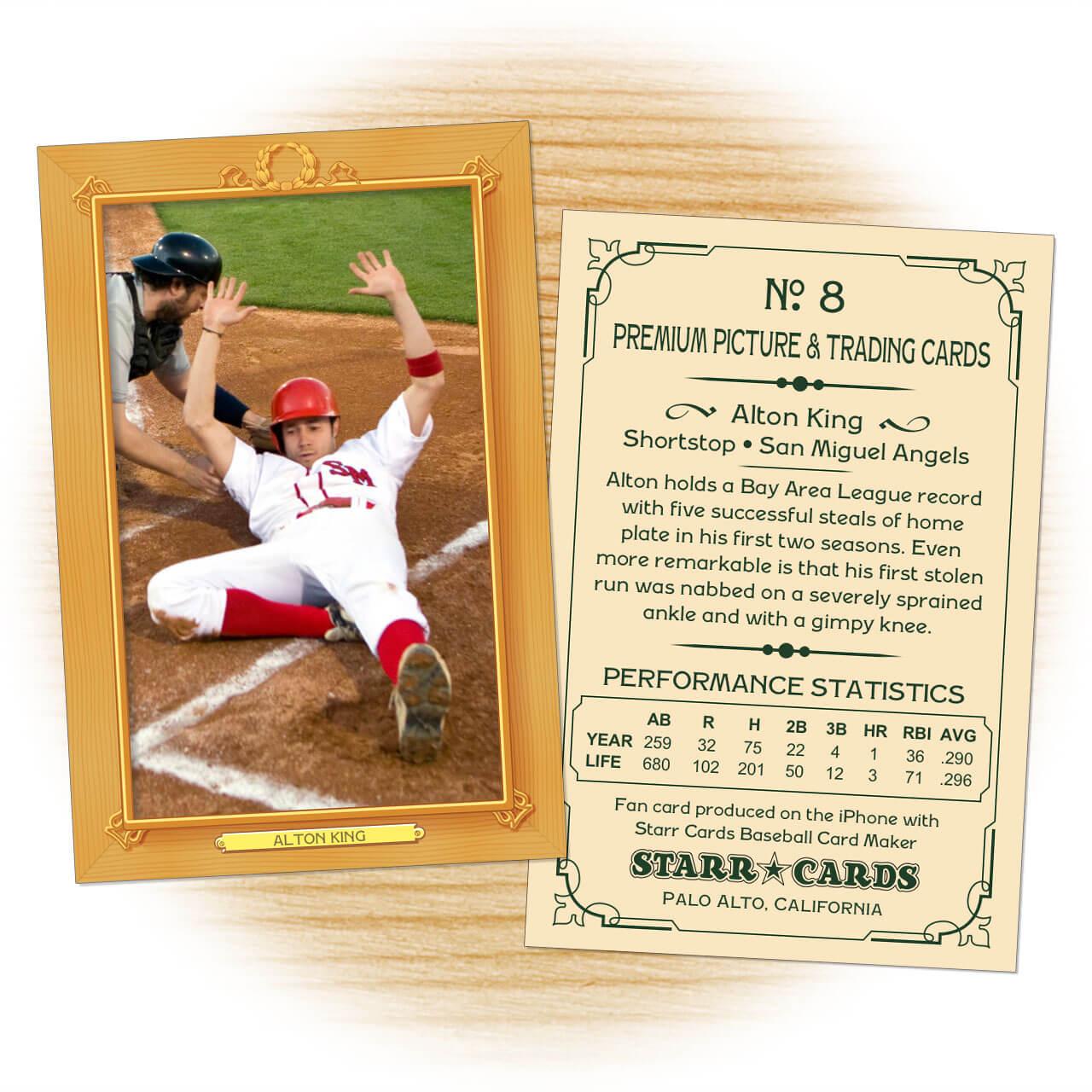 Custom Baseball Cards - Vintage 11™ Series Starr Cards Inside Custom Baseball Cards Template