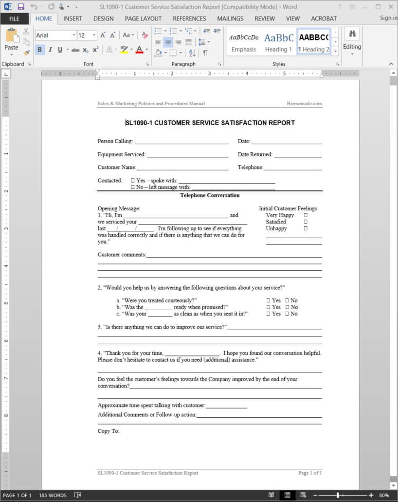 Customer Service Satisfaction Report Template   Sl1090 1 Regarding Service Review Report Template