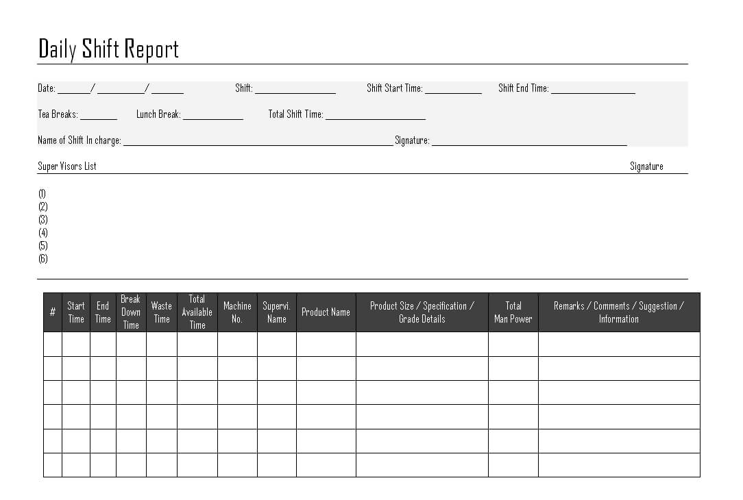 Daily Shift Report - Pertaining To Shift Report Template