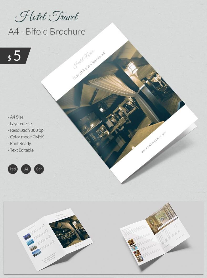 Dazzling Hotel & Travel A4 Bi Fold Brochure Template   Free Pertaining To Hotel Brochure Design Templates