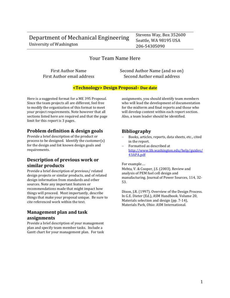 Design Report Template - University Of Washington Inside Section 7 Report Template