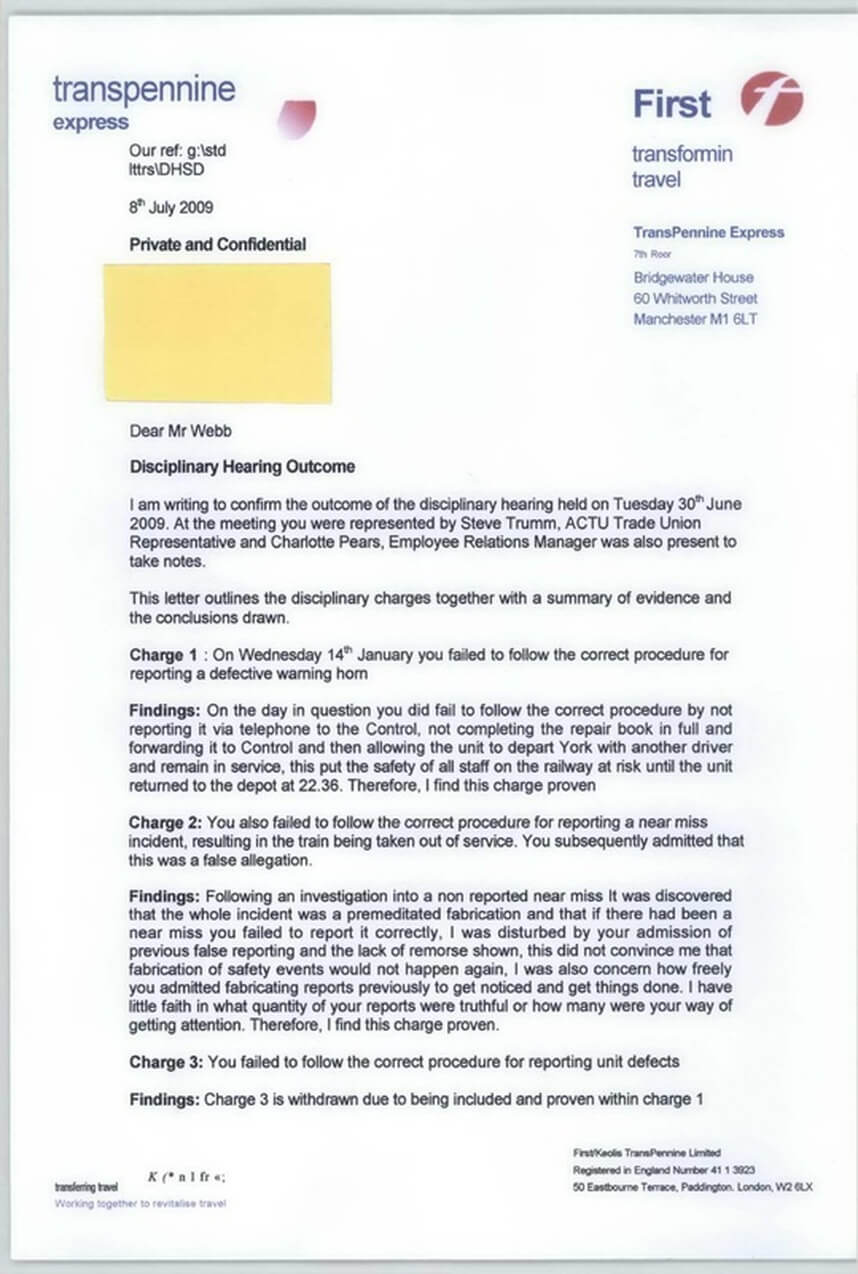 Disciplinary Hearing Outcome Letter - Transpennine Express With Investigation Report Template Disciplinary Hearing