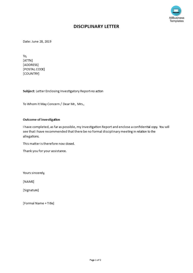 Disciplinary Letter Enclosing Investigatory Report | Templates Throughout Investigation Report Template Disciplinary Hearing