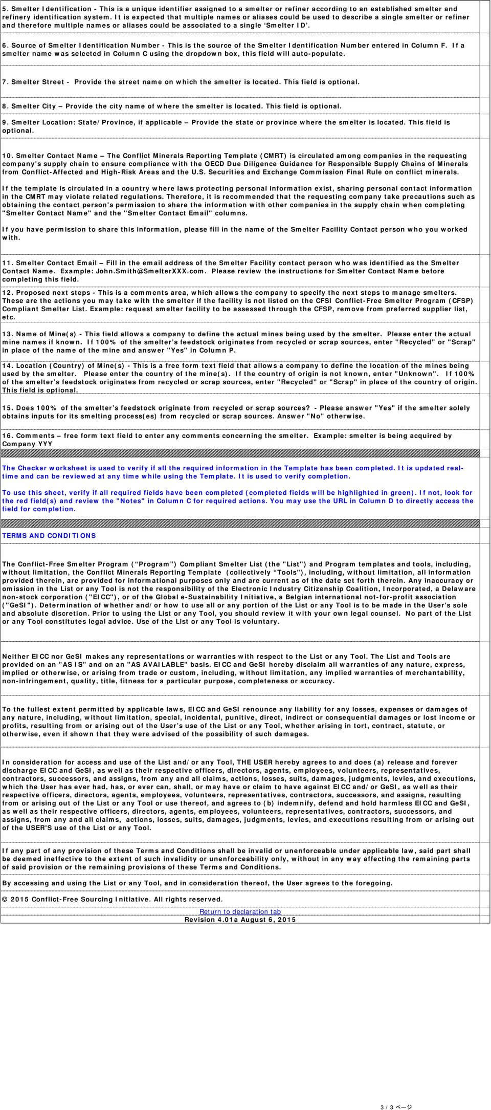 Document Title Conflict Minerals Reporting Template Sheet. 1 In Eicc Conflict Minerals Reporting Template