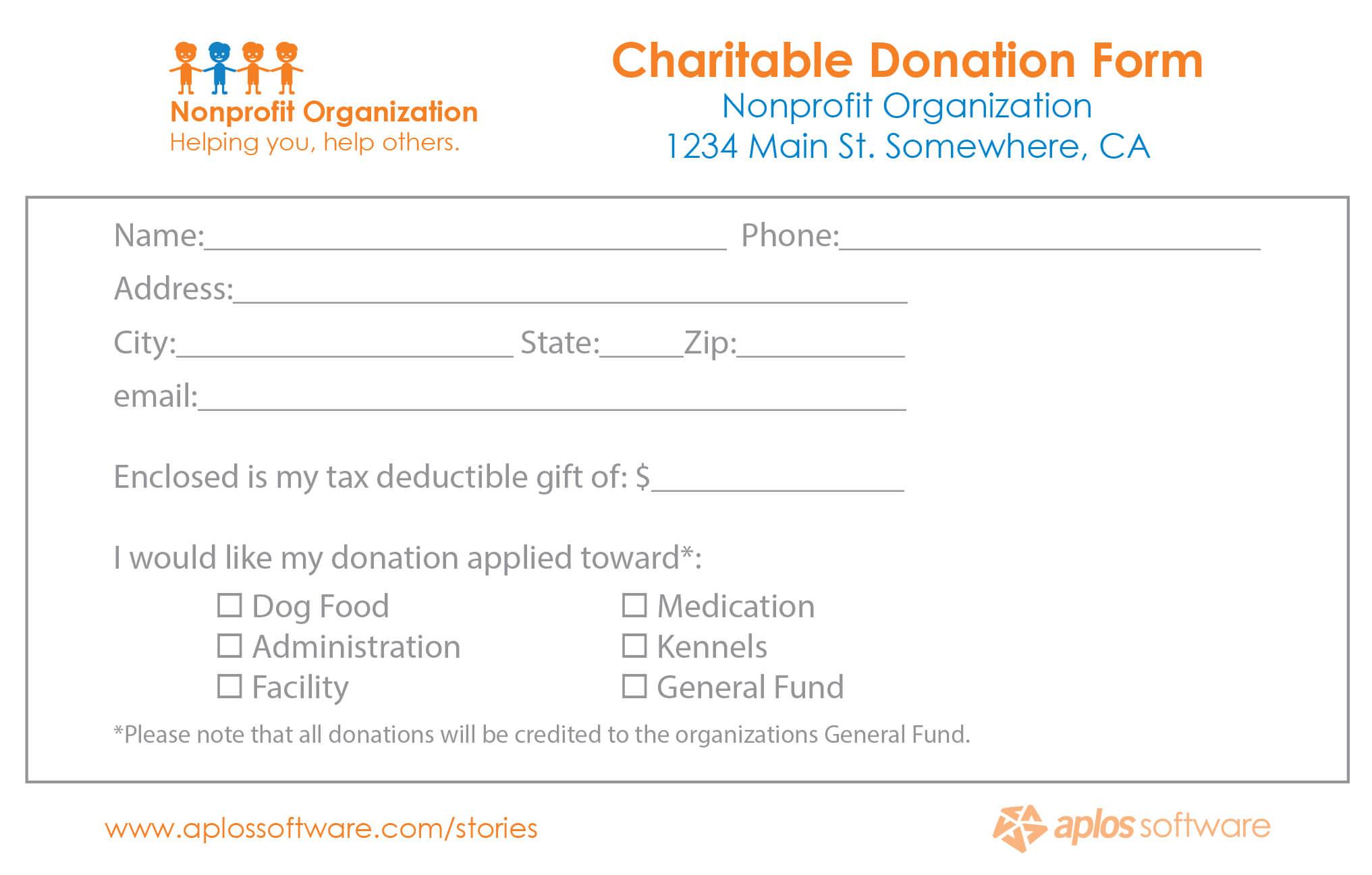 Donation Card Sample – Topa.mastersathletics.co Inside Fundraising Pledge Card Template