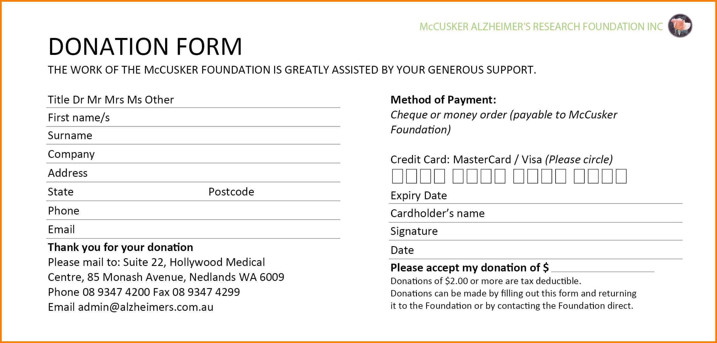 Donation Card Sample – Topa.mastersathletics.co Within Fundraising Pledge Card Template