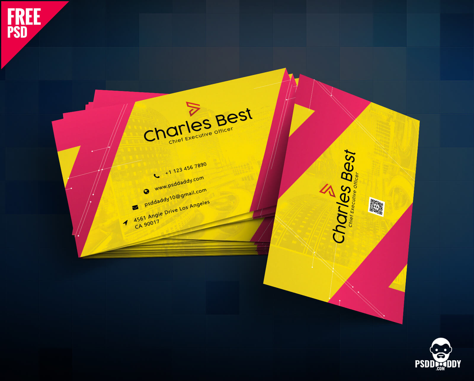 Download] Creative Business Card Free Psd | Psddaddy Pertaining To Business Card Size Psd Template