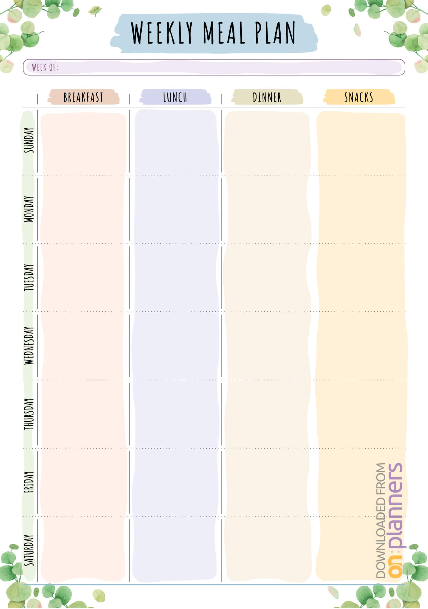Download Printable Weekly Meal Plan – Floral Style Pdf With Blank Meal Plan Template