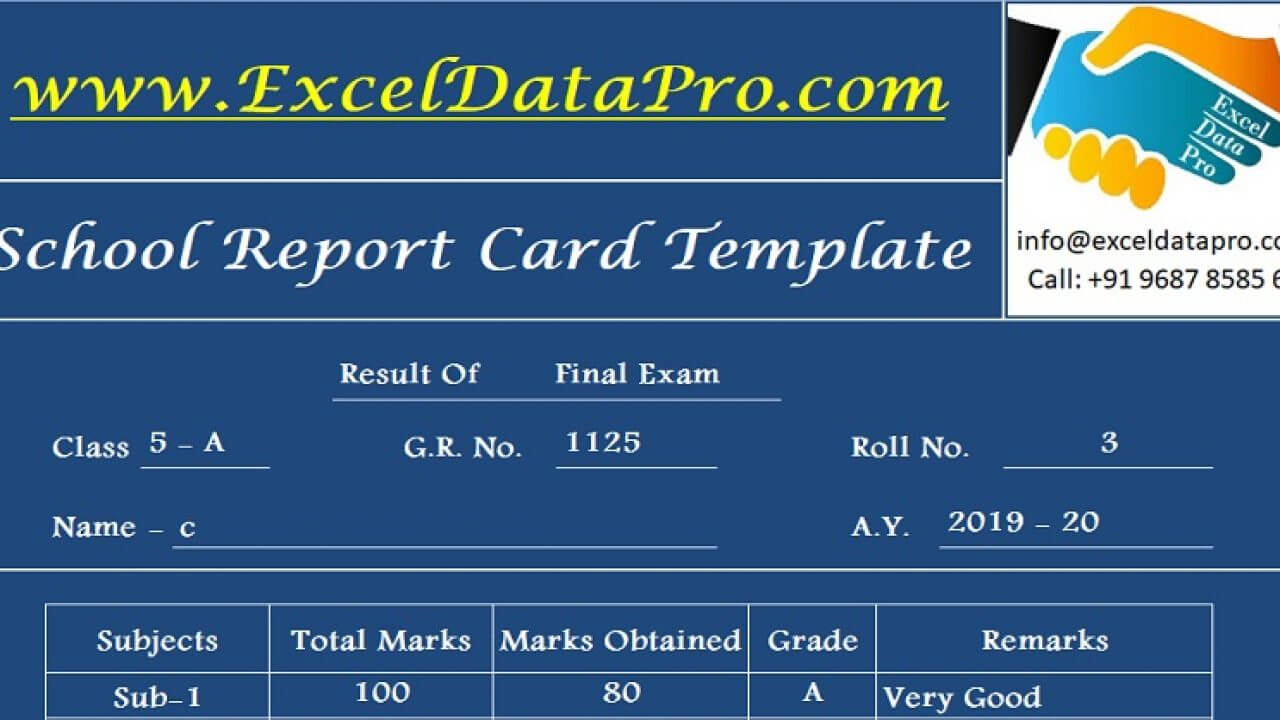 Download School Report Card And Mark Sheet Excel Template In Report Card Format Template