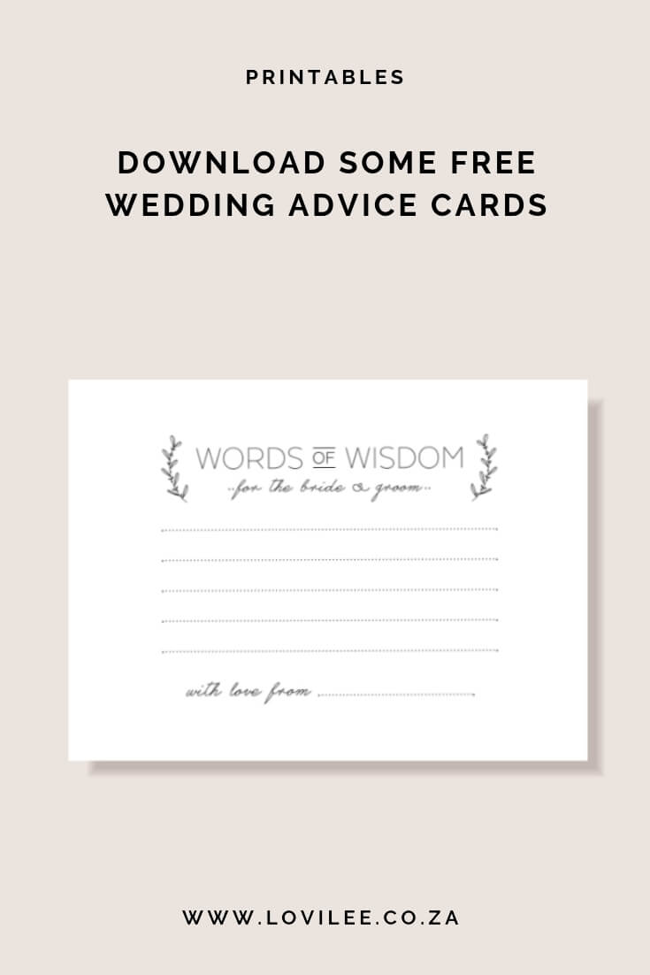 Download Your Free Wedding Advice Cards Printable | Lovilee For Marriage Advice Cards Templates