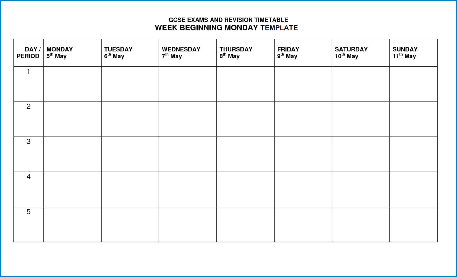 √ Free Printable Timetable Template | Templateral With Blank Revision Timetable Template