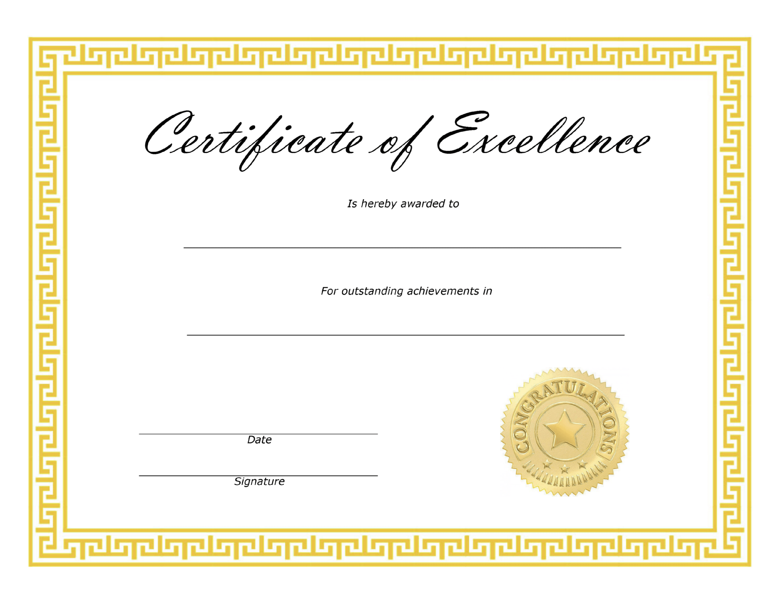 ❤️ Free Sample Certificate Of Excellence Templates❤️ Intended For Free Certificate Of Excellence Template