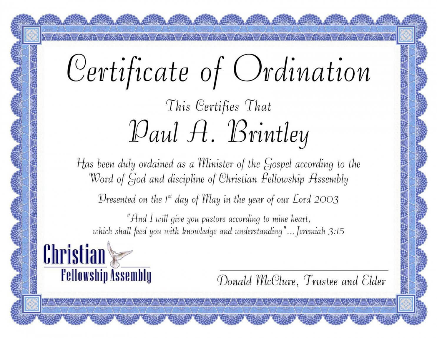 Editable Pastoral Ordination Certificatepatricia Clay Pertaining To Certificate Of Ordination Template