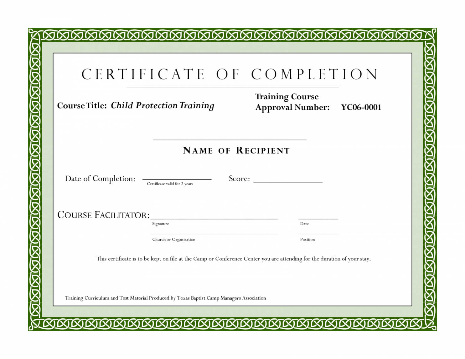 Editable Sample Certificate For Training Completion Inside Fall Protection Certification Template