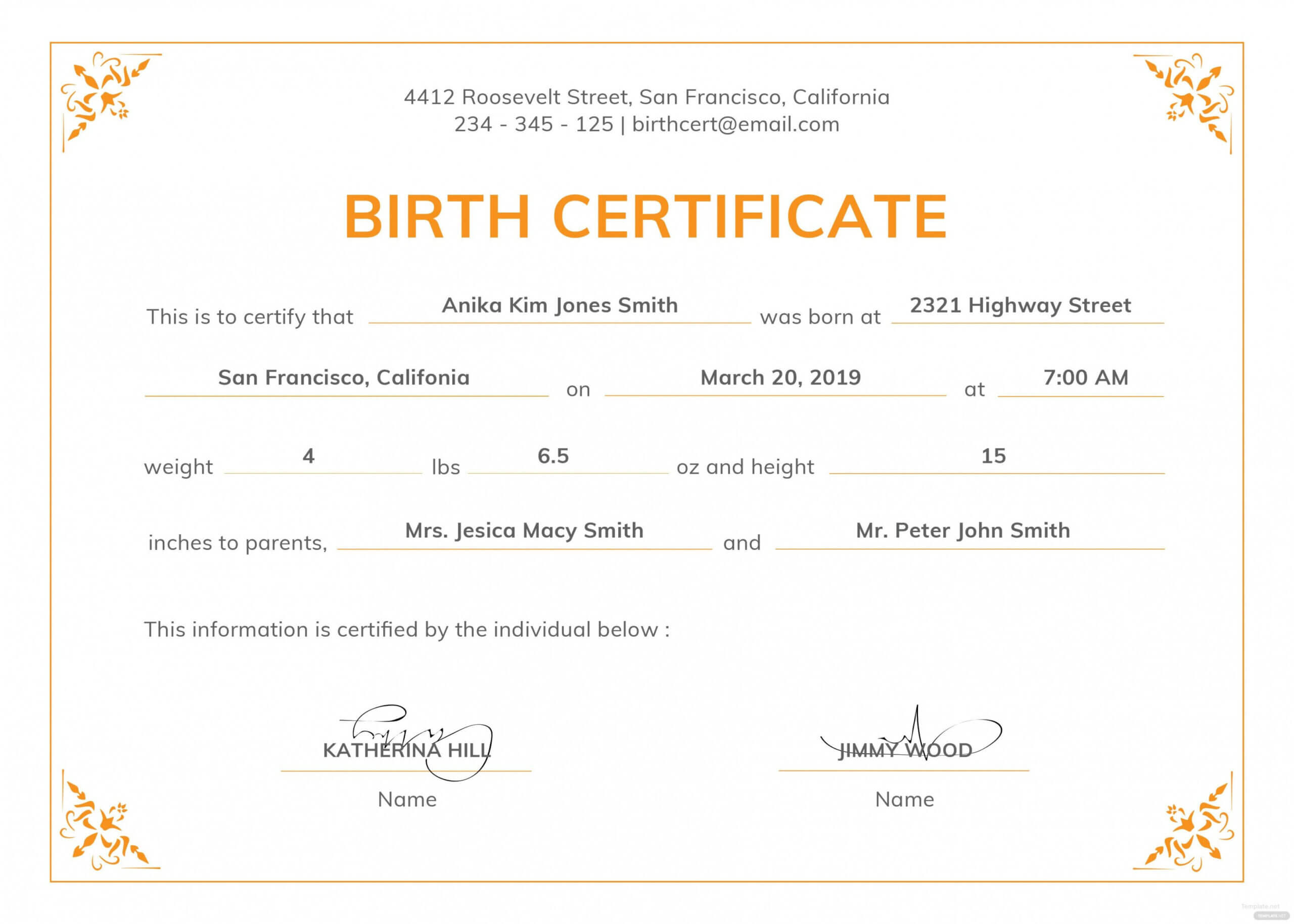 Editable Template For Birth Certificate Macopalmexco With Editable Birth Certificate Template
