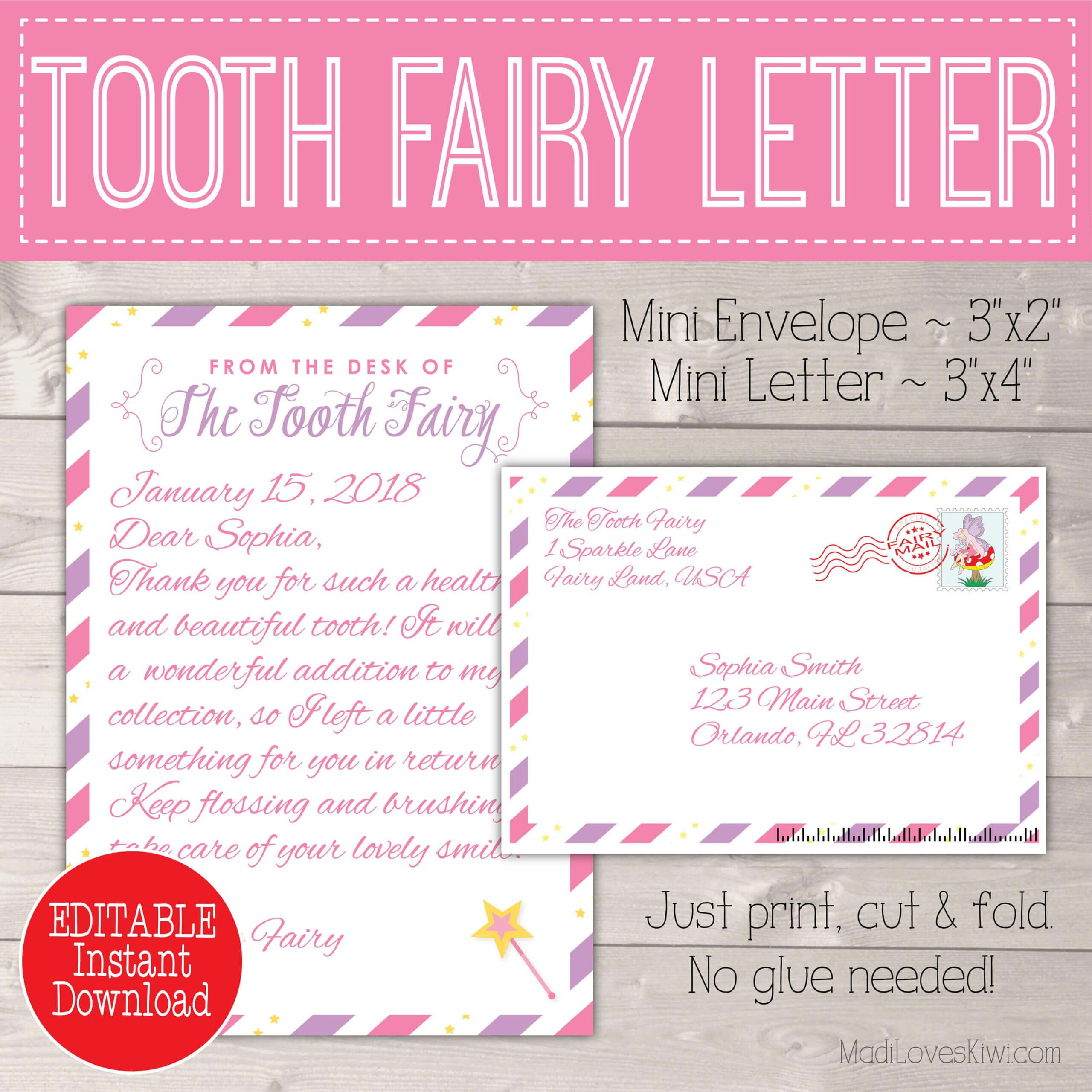 Editable Tooth Fairy Letter With Envelope | Printable Pink With Tooth Fairy Certificate Template Free