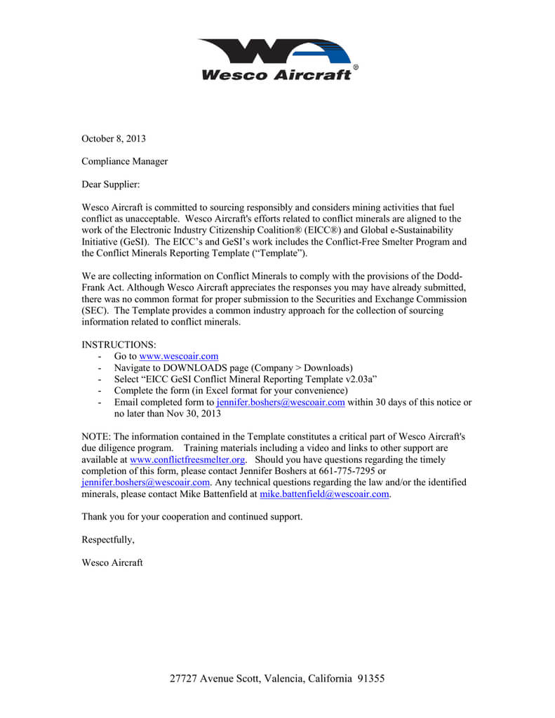 Eicc Gesi Conflict Mineral Reporting Notice Oct 2013 Throughout Eicc Conflict Minerals Reporting Template