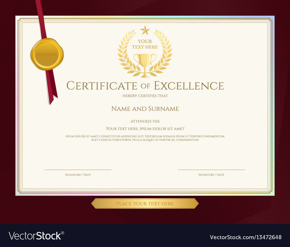 Elegant Certificate Template For Excellence With Elegant Certificate Templates Free