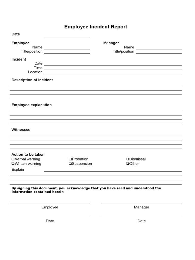 Employee Incident Report - 4 Free Templates In Pdf, Word For Incident Report Form Template Word