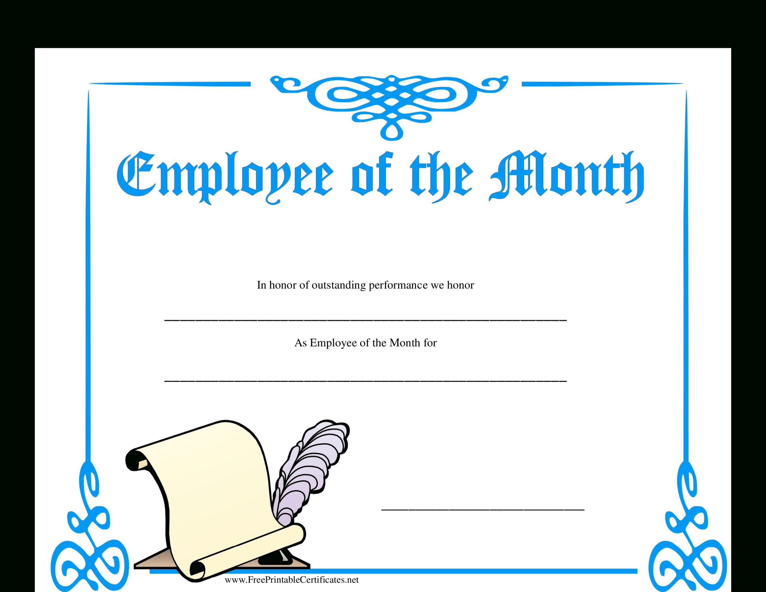 Employee Of The Month Certificate | Templates At Within Employee Of The Month Certificate Templates