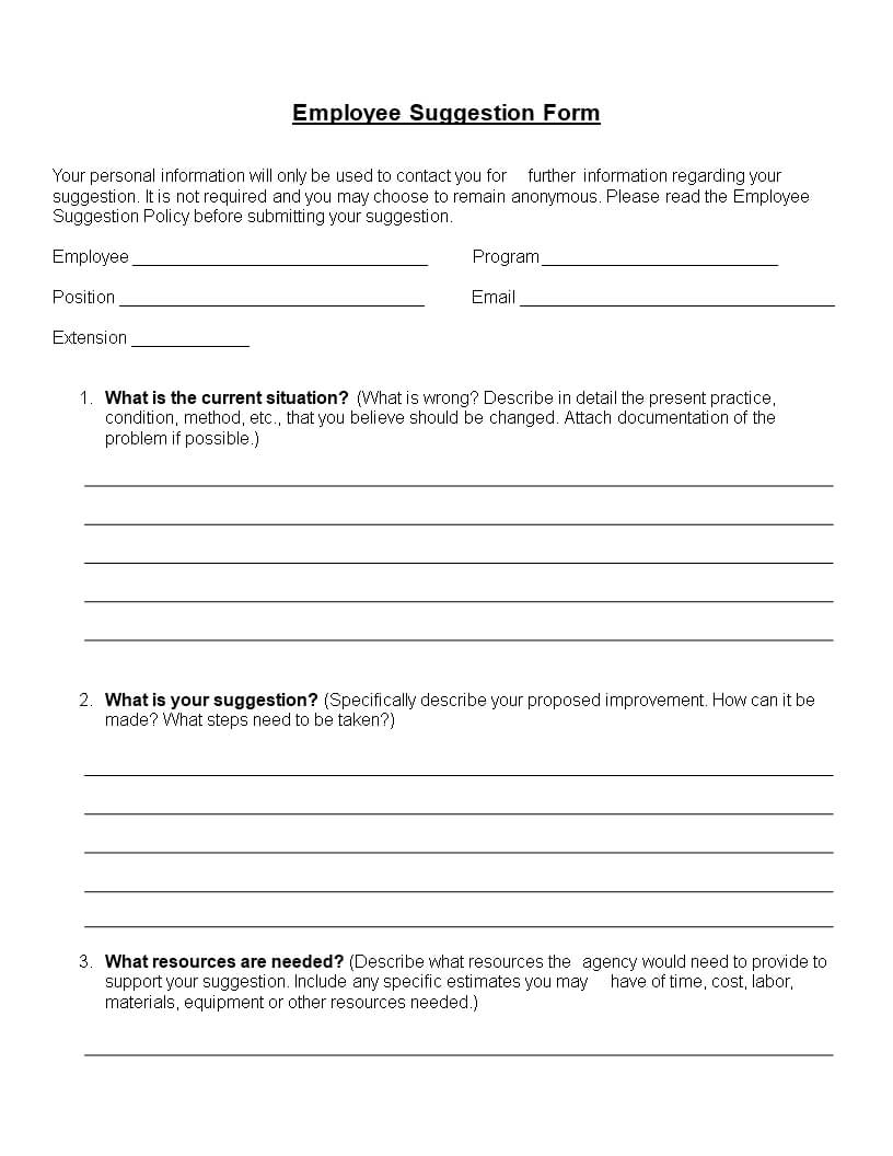 Employee Suggestion Form Word Format | Templates At With Regard To Word Employee Suggestion Form Template