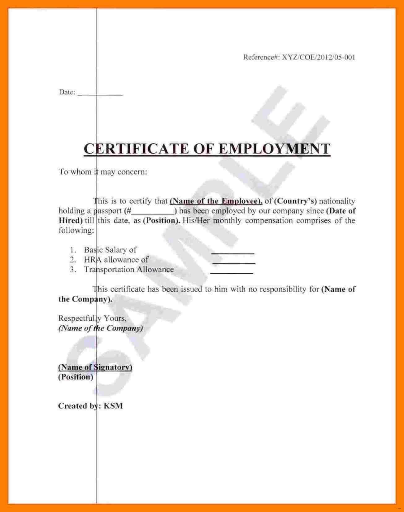 Employment Certificate Template - Zohre.horizonconsulting.co In Certificate Of Employment Template