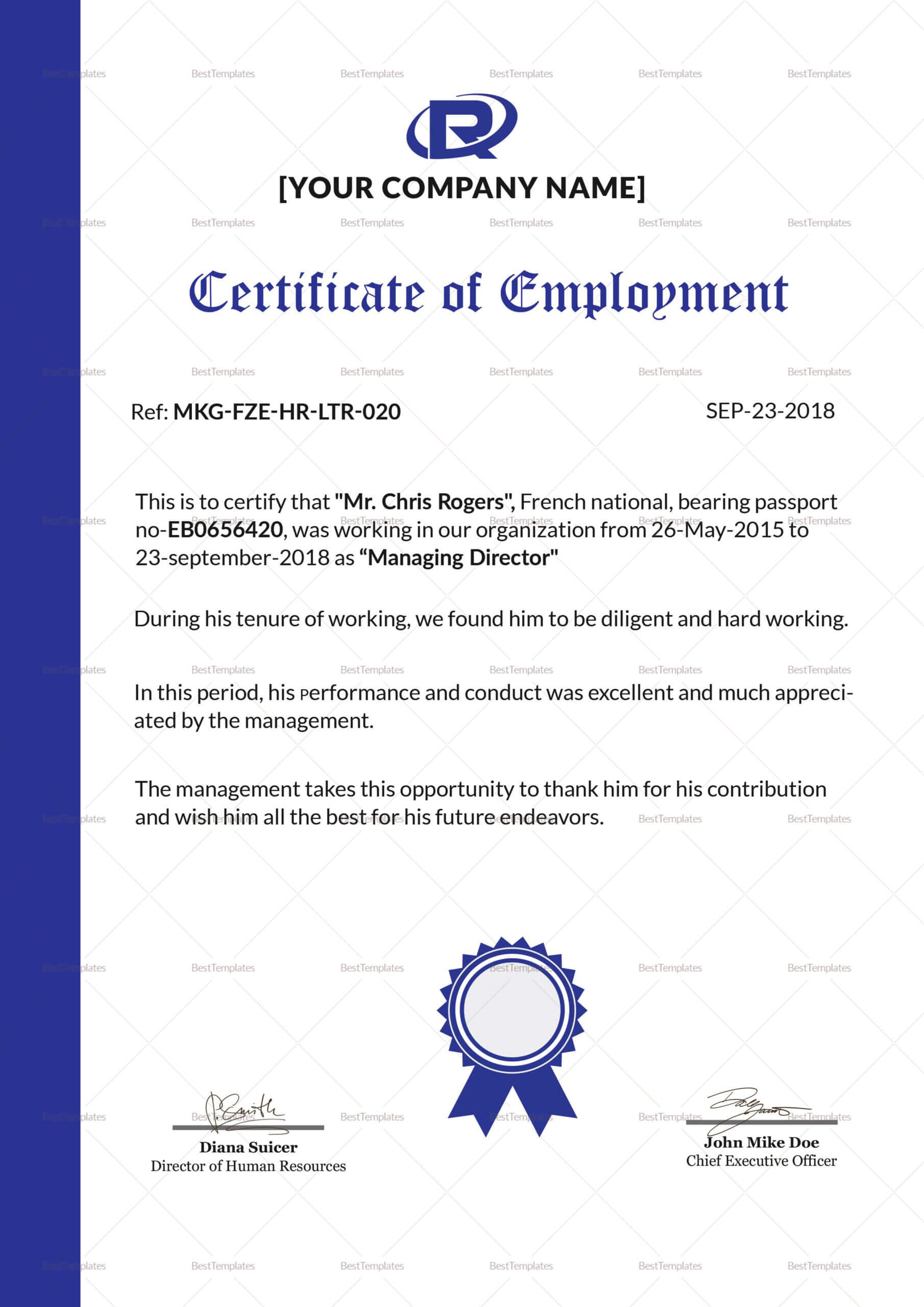 Employment Certificate Template - Zohre.horizonconsulting.co With Certificate Of Employment Template