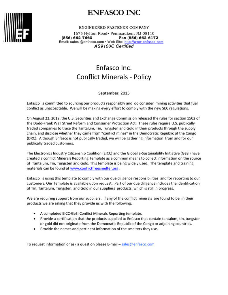 Enfasco Inc Enfasco Inc. Conflict Minerals – Policy Within Eicc Conflict Minerals Reporting Template