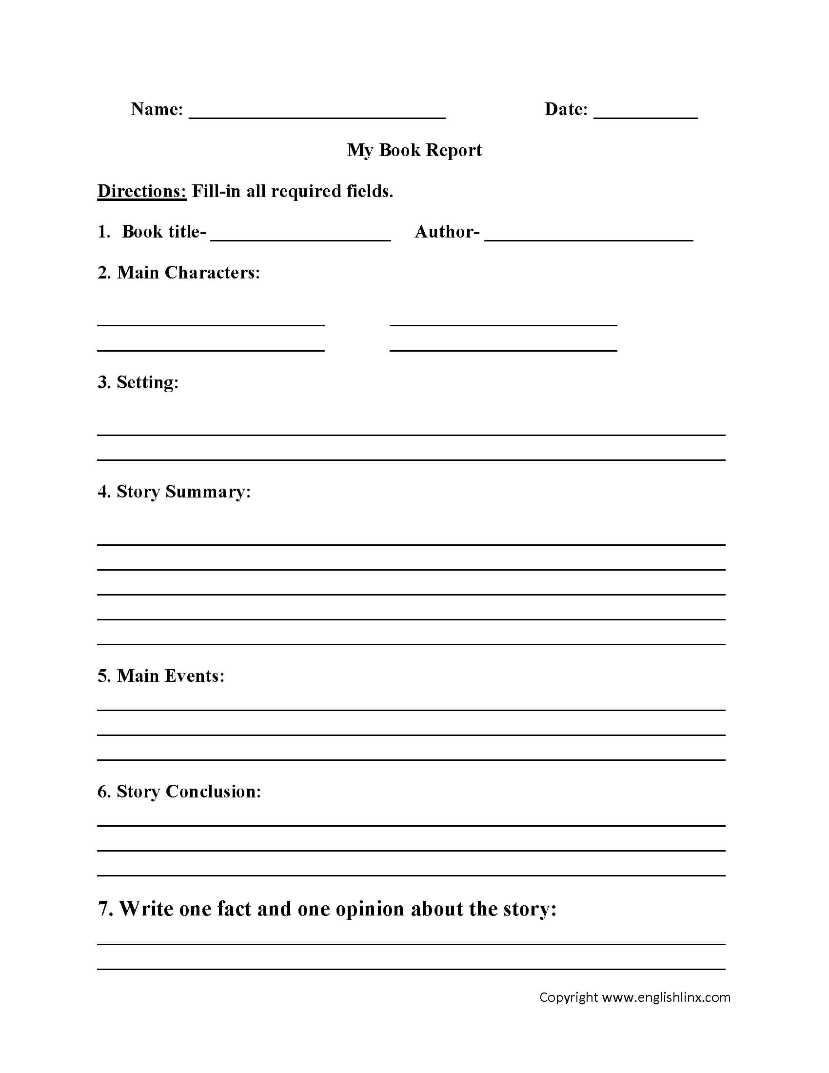 Englishlinx | Book Report Worksheets Throughout Book Report Template 5Th Grade