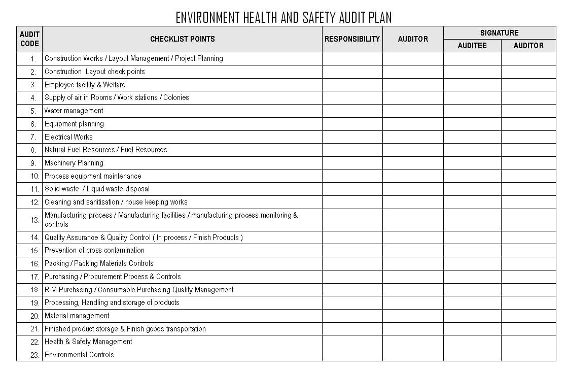 Environment Health And Safety Audit Plan - For Annual Health And Safety Report Template