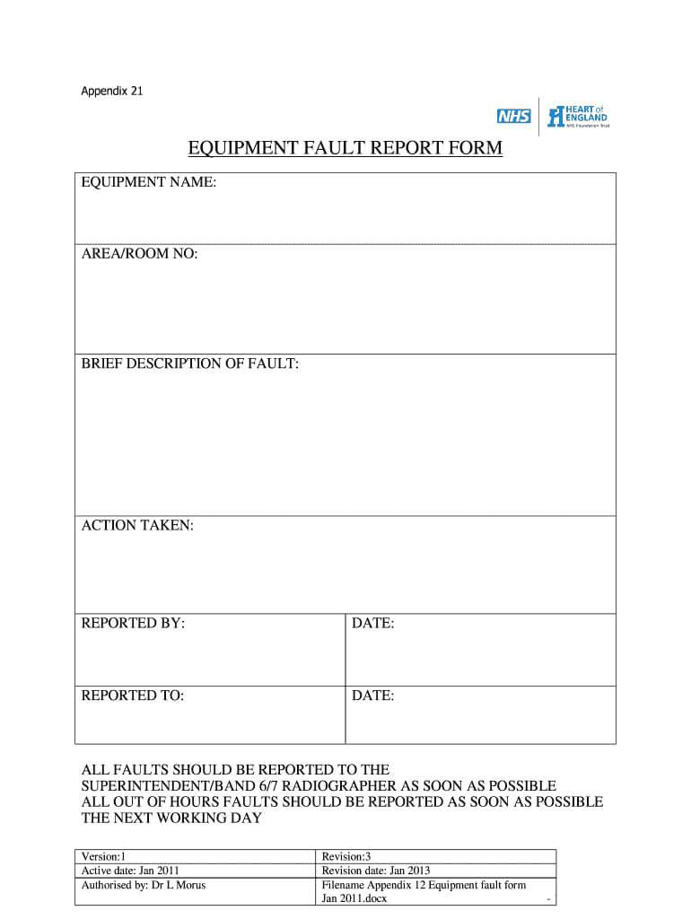 Equipment Fault Report - Fill Online, Printable, Fillable Intended For Equipment Fault Report Template