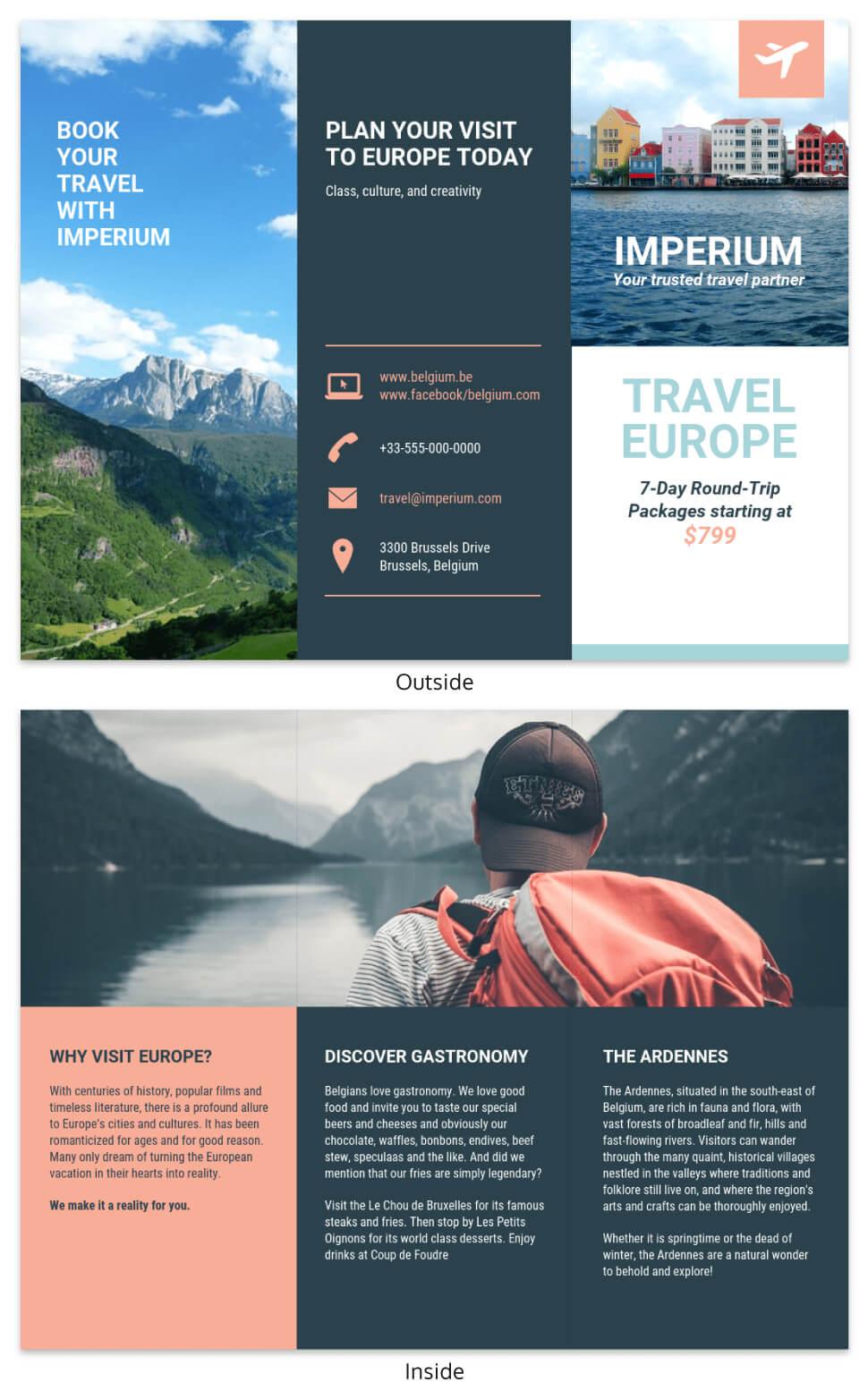 Europe Tourism Travel Tri Fold Brochure Template Within Travel Brochure Template For Students