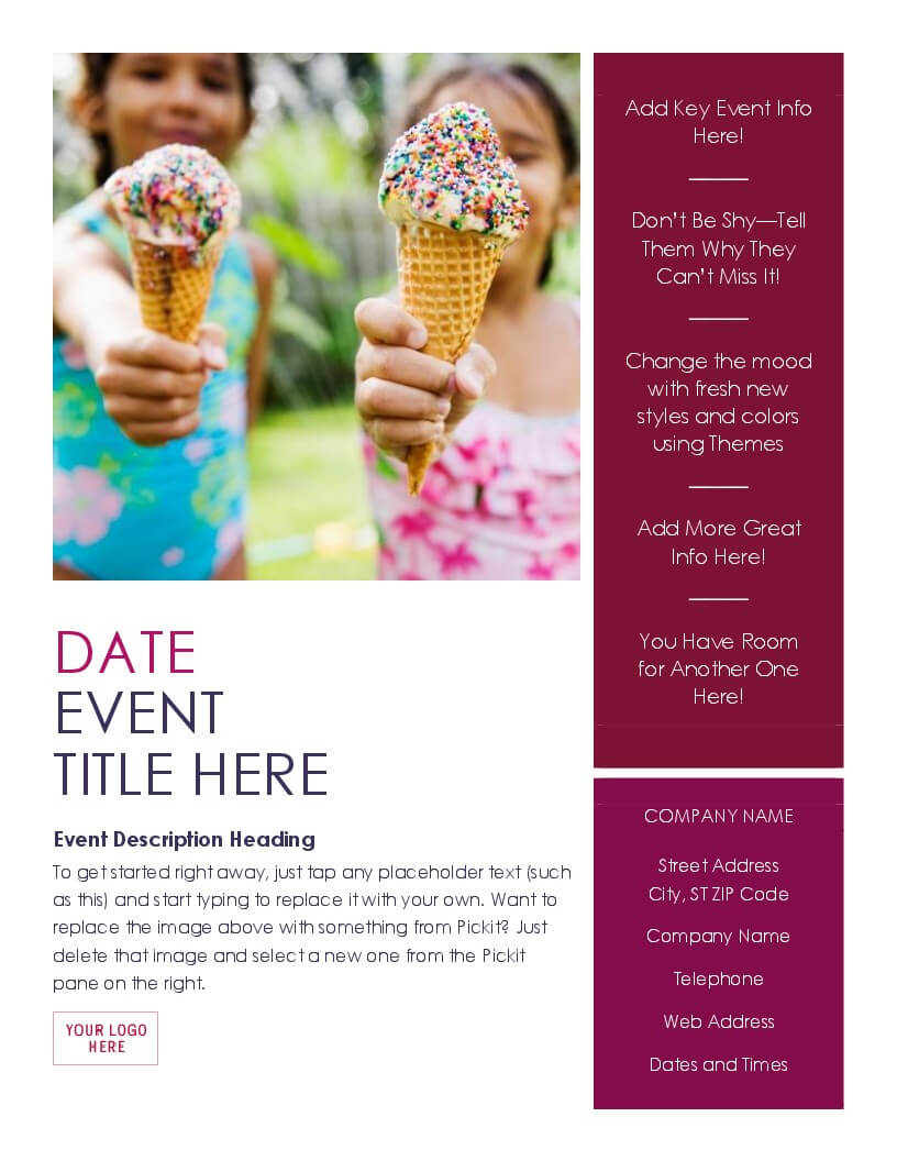 Event Flyer (Summer) Within Templates For Flyers In Word
