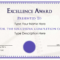 Excellence Award Certificate | Templates At With Award Of Excellence Certificate Template