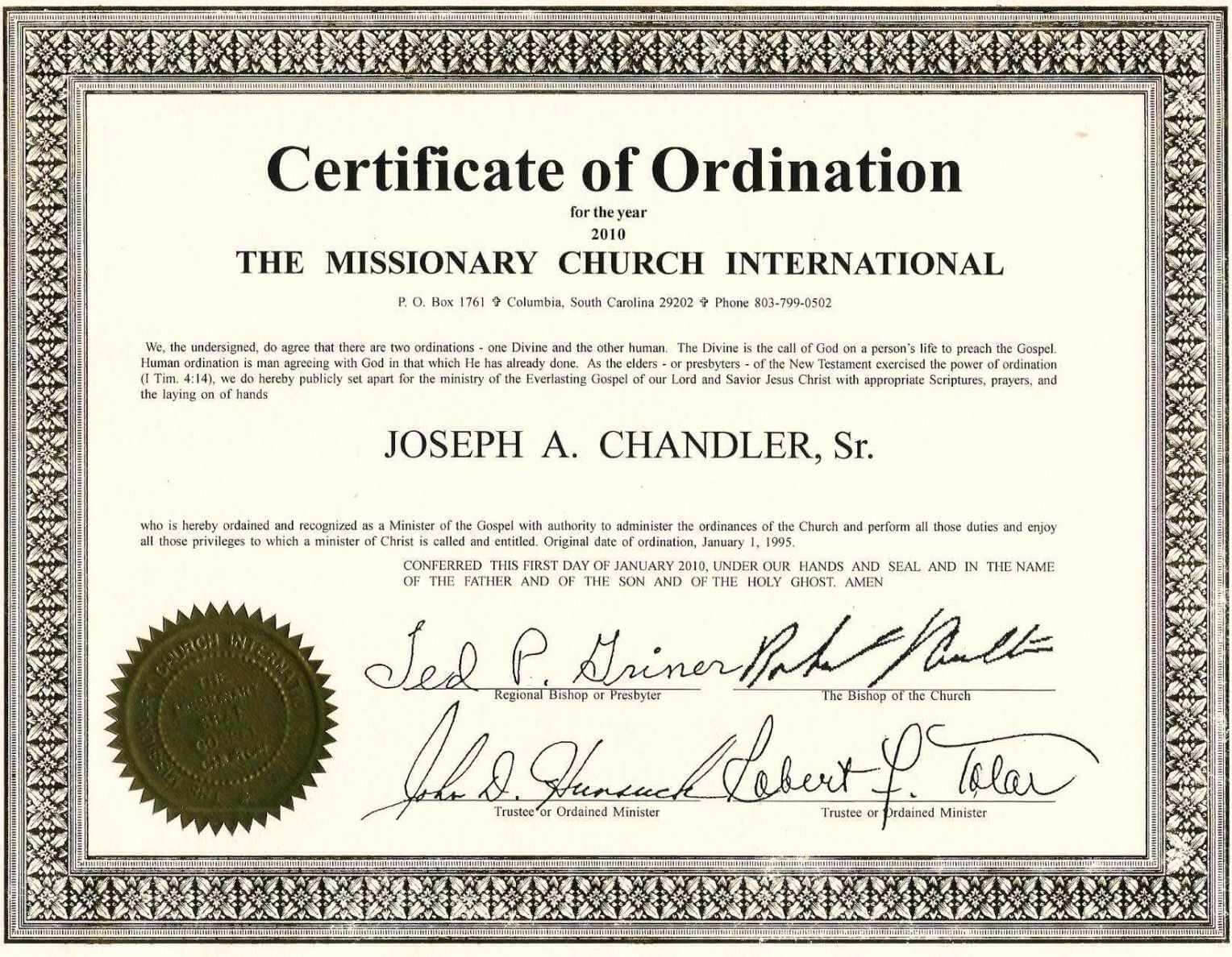 Exceptional Printable Ordination Certificate | Dan's Blog In Ordination Certificate Templates