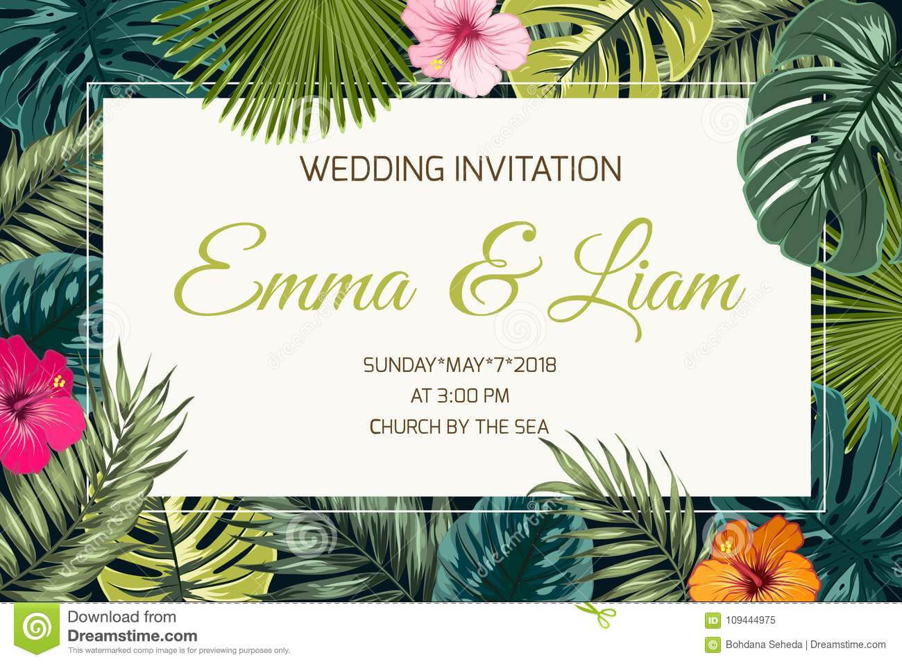 Exotic Tropical Jungle Wedding Event Invitation Stock Vector In Event Invitation Card Template