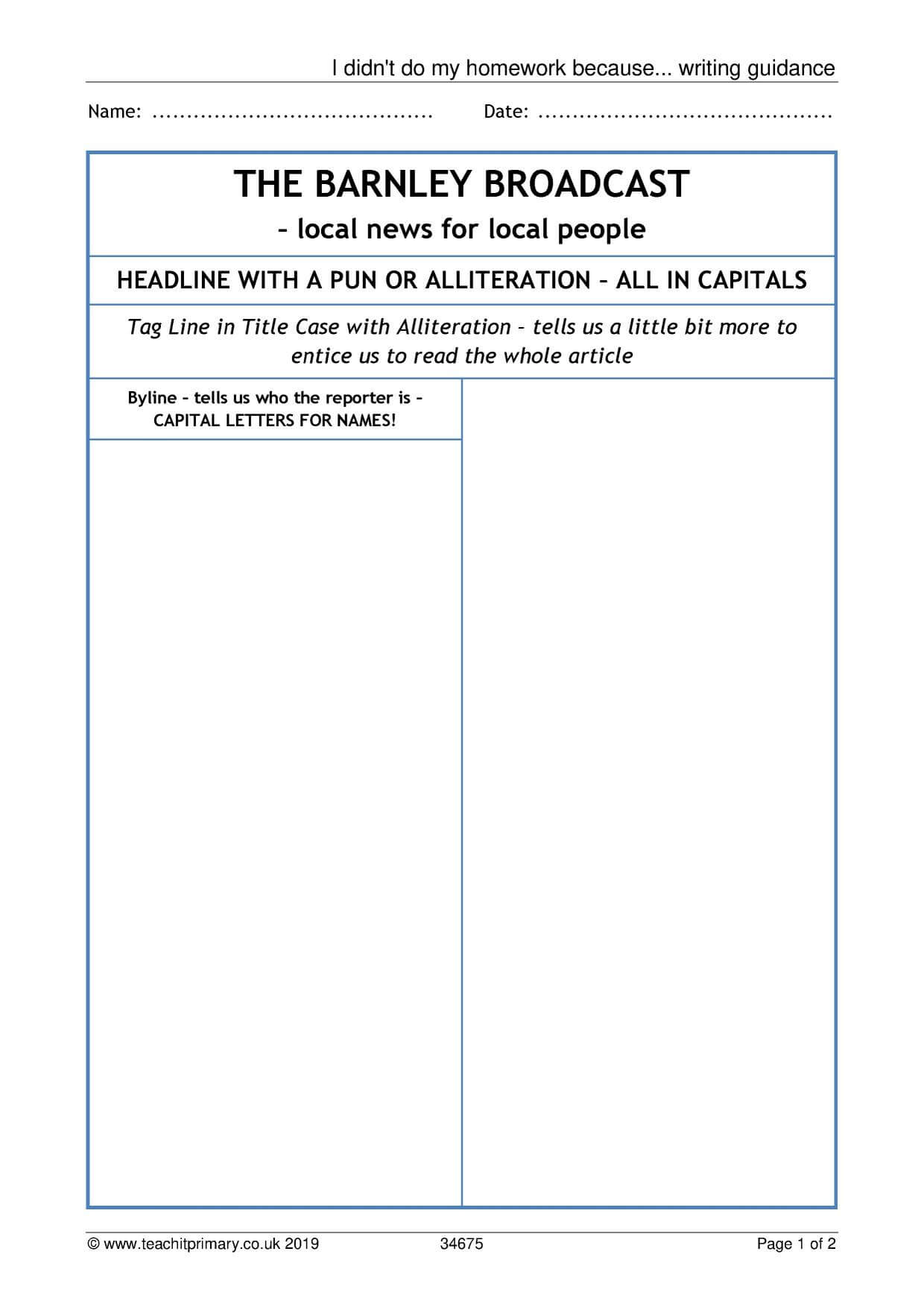 Eyfs | Ks1 | Ks2 | Newspapers | Teachit Primary In Report Writing Template Ks1