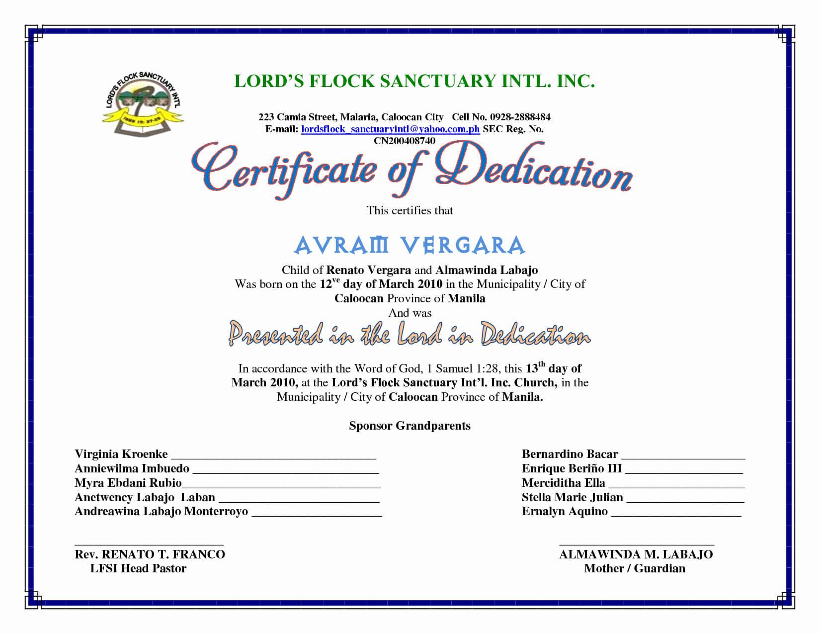 F096280 30 Baby Dedication Certificate Templates Throughout Baby Dedication Certificate Template