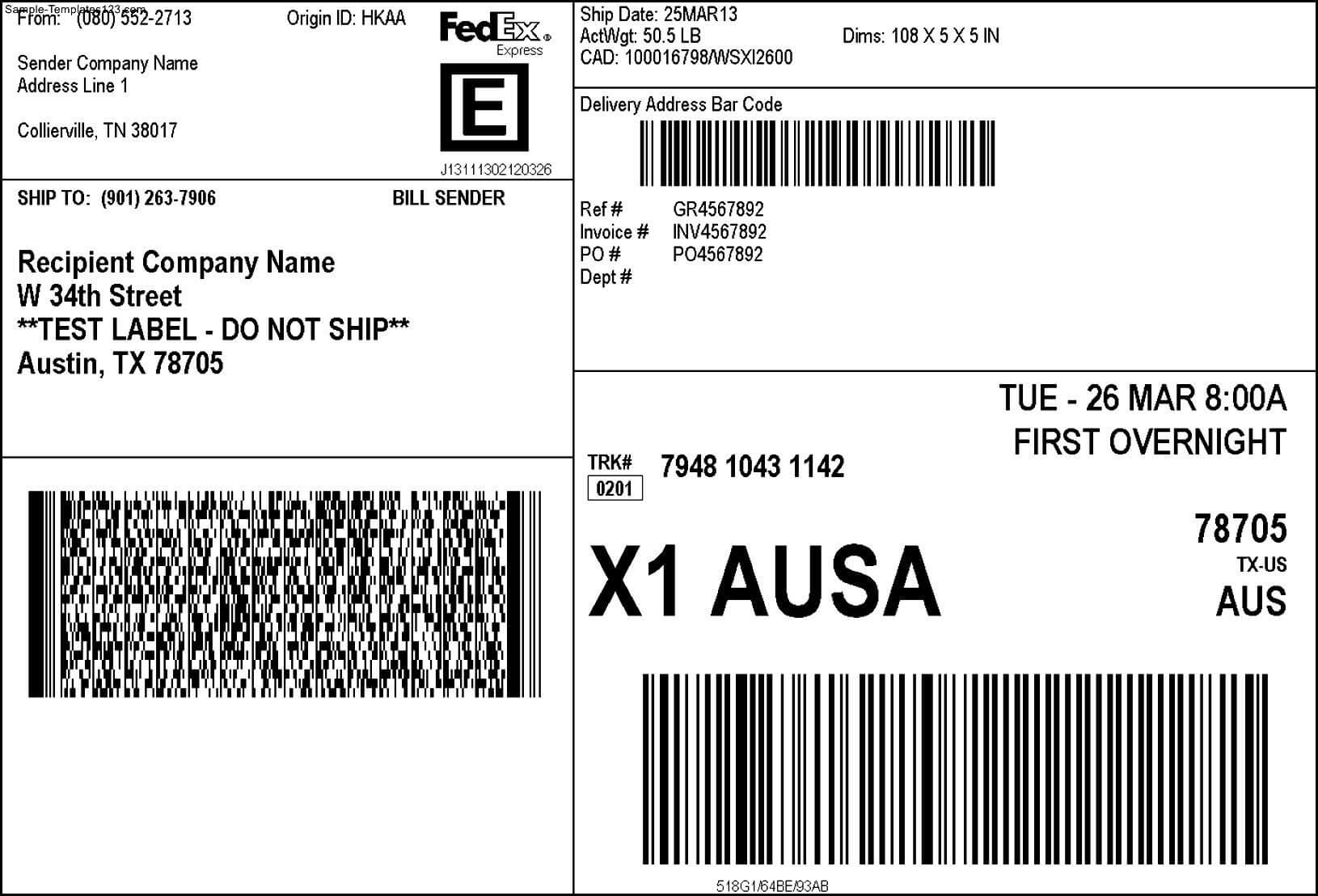 Fedex Shipping Label - Sample Templates - Sample Templates Inside Fedex Label Template Word