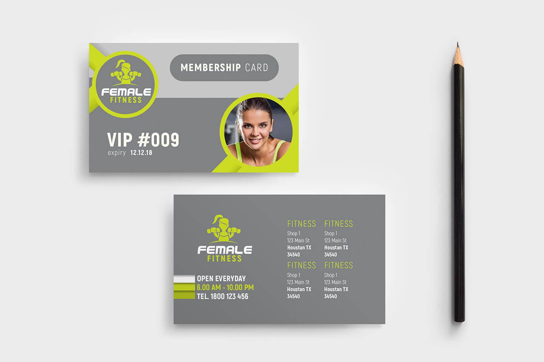 Female Fitness Membership Card Template In Psd, Ai Pertaining To Gym Membership Card Template