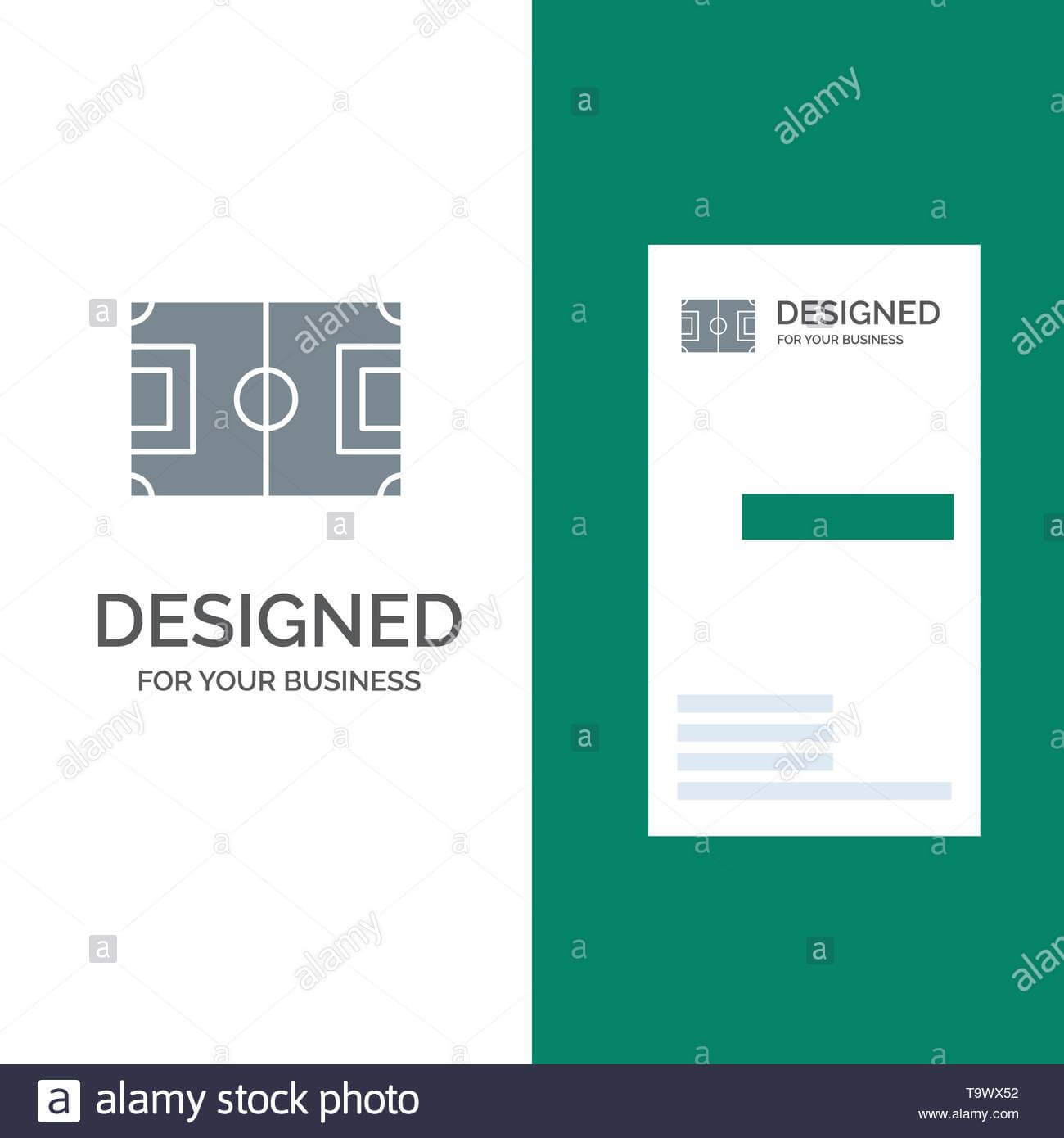 Field, Football, Game, Pitch, Soccer Grey Logo Design And Within Soccer Referee Game Card Template