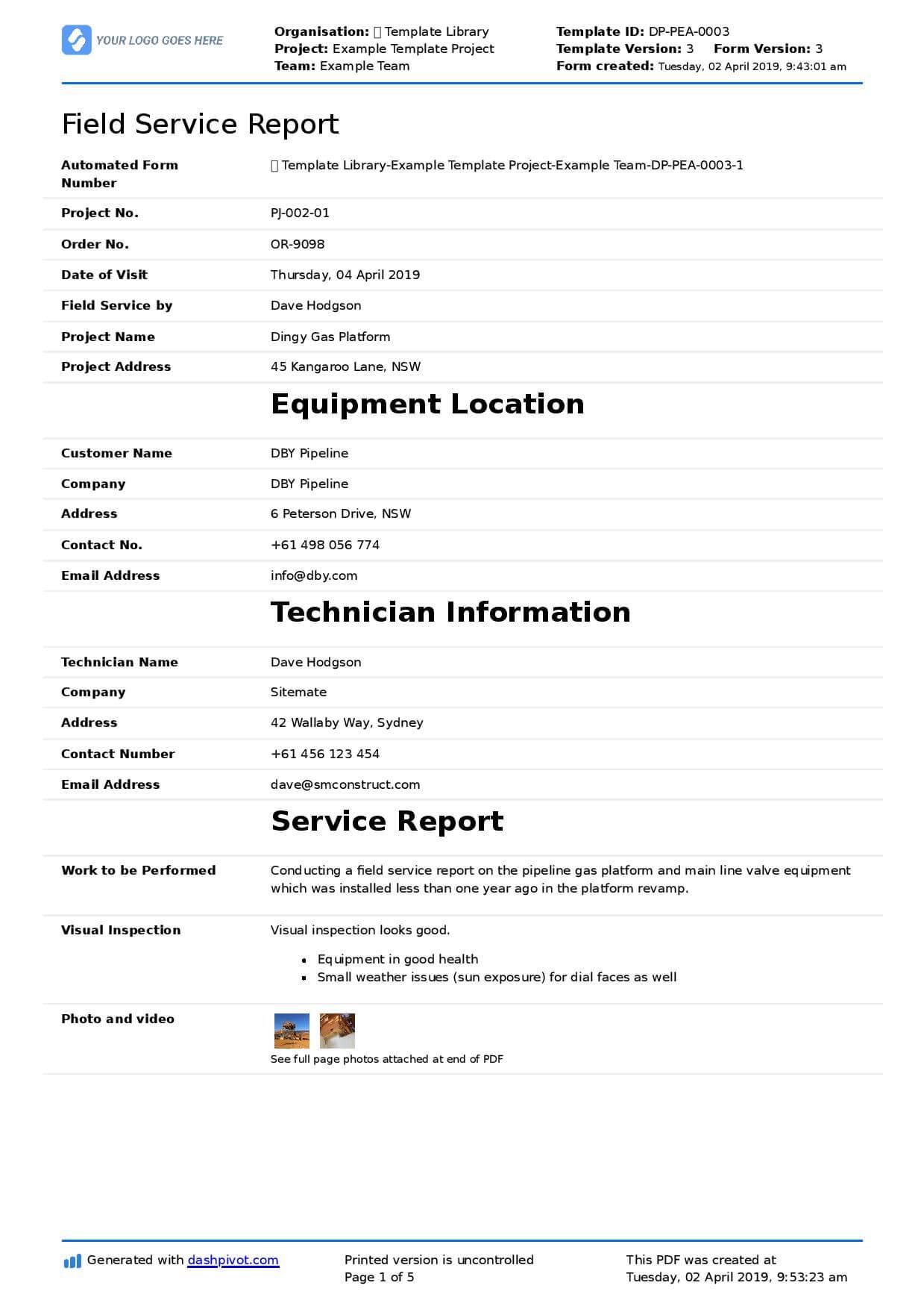 Field Service Report Template (Better Format Than Word Inside Technical Service Report Template