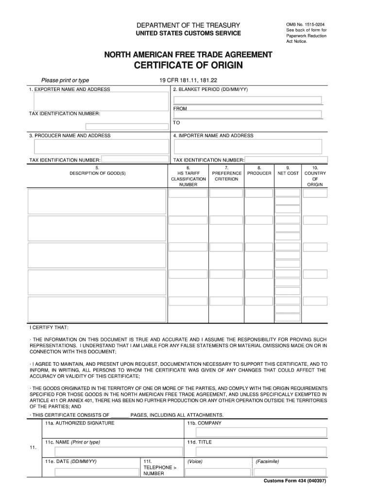 Fillable Nafta Certificate Of Origin - Fill Online Within Nafta Certificate Template