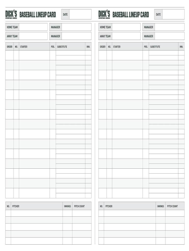 Fillable Online Baseball Lineup Card Baseball Lineup Card With Softball Lineup Card Template