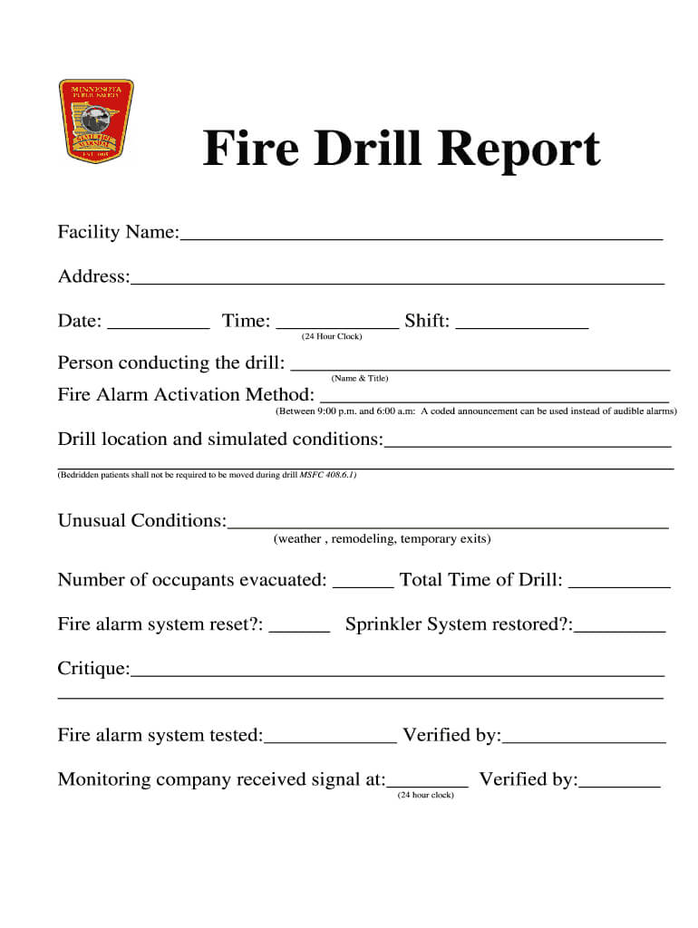 Fire Drill Report Template - Fill Online, Printable In Emergency Drill Report Template