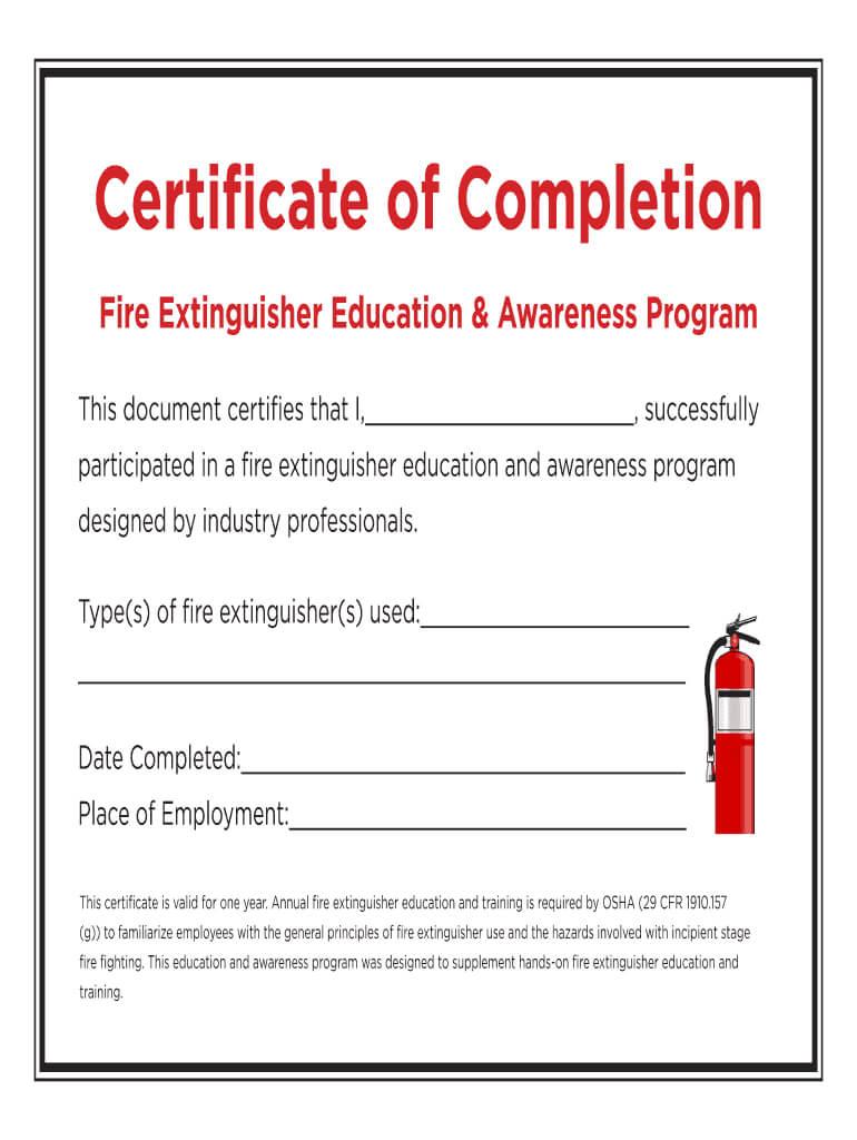 Fire Extinguisher Certificate - Fill Online, Printable With Fire Extinguisher Certificate Template