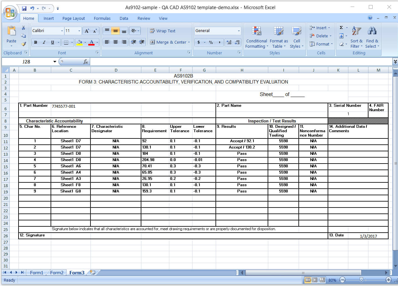 First Article Inspection Report Form (Download Free Sample In Part Inspection Report Template