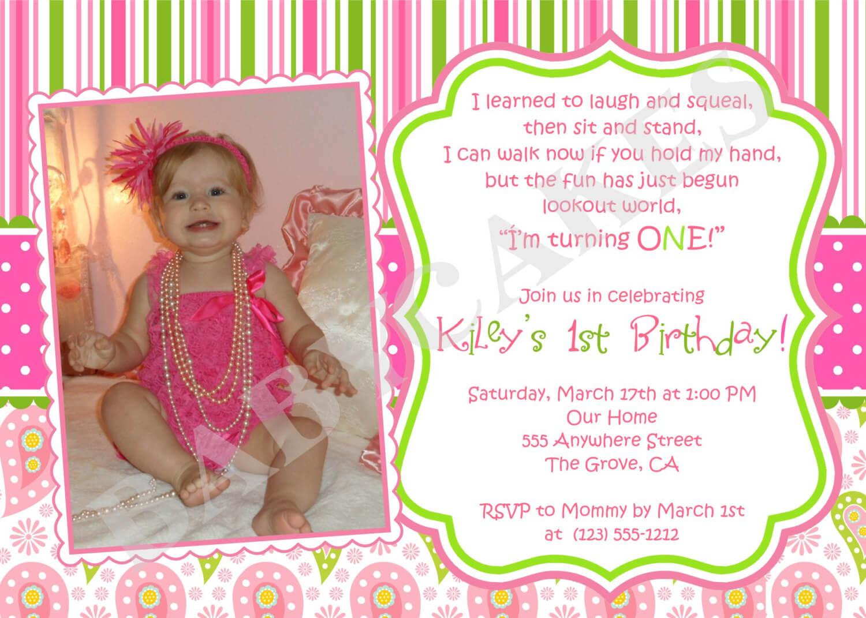 First Birthday Invitation Wording Ideas – Bagvania With First Birthday Invitation Card Template