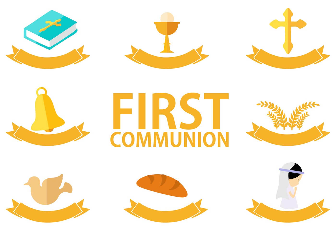 First Communion Template Free Vector Art – (25 Free Downloads) Throughout Free Printable First Communion Banner Templates
