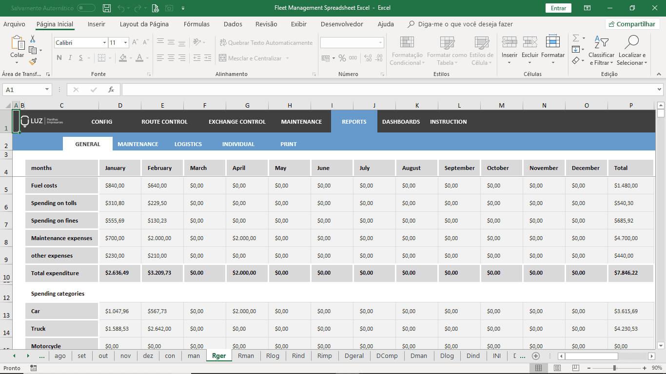 Fleet Management Spreadsheet Excel Inside Fleet Management Report Template